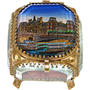 Antique Eglomise Souvenir Box, Jewelry Casket, Hotel De Ville with Boats on the Seine