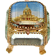 "Lovely Antique Eglomise Souvenir Box, Jewelry Casket, ""Paris - Les Invalides"""