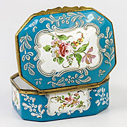 Antique Battersea Kiln-fired Enamel Snuff or Patch, Jewelry Box, Casket
