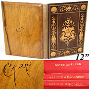 "Antique Italian Sorrento Inlaid Desk Blotter, Folio, Renaissance Style Figural Inlay, c.1800s, ""Capri"" Souvenir"