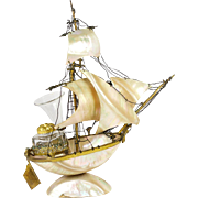 """Antique 19th c. French Mother of Pearl Shell Boat, Sail 11"""" Tall Ship, Inkwell & Vase"""