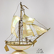 "Antique 19th c. French Mother of Pearl 11"" Tall Ship, Sail Boat Pocket Watch Stand, Grand Tour"
