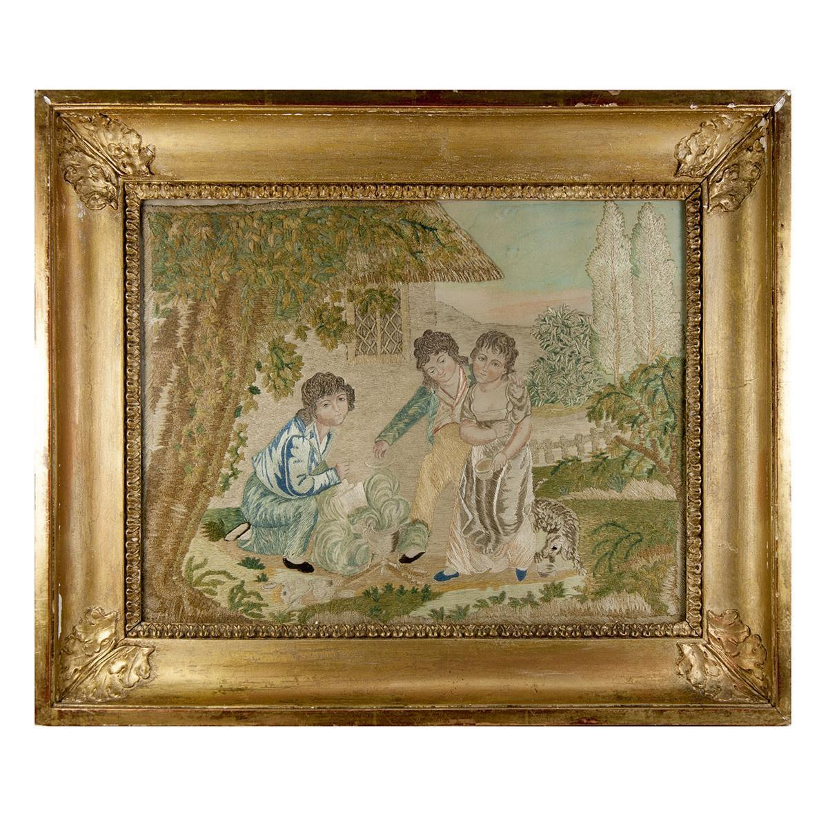 RARE Antique c.1816 French Silk Embroidery Needlework Sampler, Chenille, Empire Frame #2