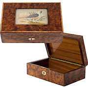 Antique English Burled Jewelry or Cigar Box, Casket, Embroidery with Game Fowl, Pheasant