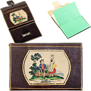 Antique 19th c. Leather Card Case, Note, Necessaire, Needlework Inset, Grand Tour Souvenir