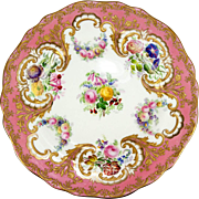 Rare Fine c.1852 Copeland Spode Hand Painted Cabinet Plate, Pink Floral, Heavy Impasto Raised Gold Enamel