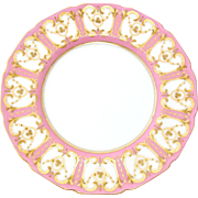 "Elegant Antique Royal Doulton 8 5/8"" Cabinet or Decorative Plate, Pink & Raised Gold Enamel Border"