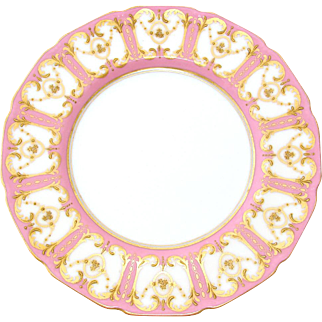 "SALE Elegant Antique Royal Doulton 8 5/8"" Cabinet or Decorative Plate, Pink & Raised Gold Enamel Border"