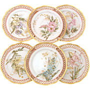 Set of 6 Antique Cabinet Plates, Reticulated Pink & Gold Borders with Colorful Floral Centers