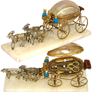 "Antique French Palais Royal 11"" Long Mother of Pearl Carriage Sewing Etui, Perfume Opaline, Monkey Cart Driver"