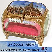 Antique Eglomise Souvenir Box, Jewelry Casket, Souvenir of 1904 St. Louis World's Fair: Electricity Building