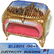 Antique Eglomise Souvenir Box, Jewelry Casket, Souvenir of 1904 St. Louis World's Fair: Electricity Building
