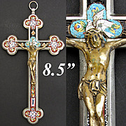 "Lg Antique Italian Grand Tour Era Micro Mosaic 8.5"" Crucifix, Floral with White Dove & Christ Figure"