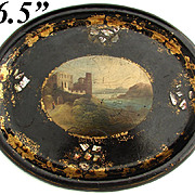 Fine Antique Oval 19th C. Victorian Era Papier Mache Tray, Hand Painted Castle & Lake Scene w/ Pearl