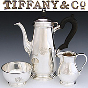 Lovely Vintage Tiffany & Co. Sterling Silver 3pc Solitaire Coffee or Tea Set, Tea Pot, Cream & Sugar Bowl