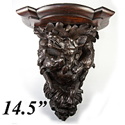 "RARE Antique Hand Carved Black Forest Bracket Shelf with 2 Hounds, a Wolf - WOW!  14.5"" Tall"