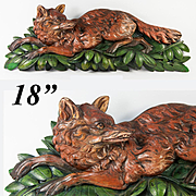 "Antique Black Forest Hand Carved 18"" long Fox, Unique Hand Painted Wood, c.1880s"