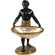 "RARE Antique French Blackamoor, 9"" Tall Figure Holding Mother of Pearl Shell Basket, Egg, Napoleon III Era"