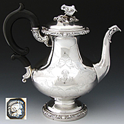 LG Antique French Sterling Silver 44oz Coffee or Tea Pot, Ornate with Floral Finial: A. Cosson Paris c. 1854-79