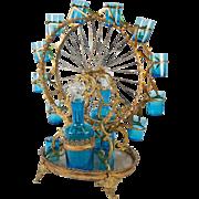 Antique French Electric Blue Liqueur Set, 2 Decanters, 14 Cups, A Working Ferris Wheel
