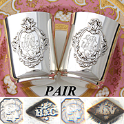 """RARE  PAIR Antique French Sterling Silver """"Timbale"""" Wine Cup or Tumblers, His & Hers, Mint Julep"""