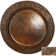 """Antique French Carved Wood Bread Board: """"Give Us This Day Our Daily Bread"""" in French"""