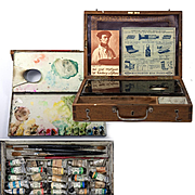 Antique French Watercolor Paints & Artist's Set, Box, Coffret with 24 Tubes Water Color, Palette