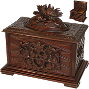 Fine Antique Black Forest Cigar Chest, Tantalus, Presenter with Carved Game Birds