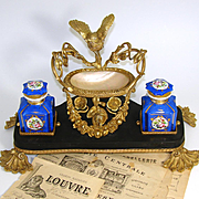 "Antique French 13.5"" Dore Gilt Bronze, Marble & Mother of Pearl Double Inkwell, Perfume Vide Poche"