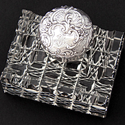 "Superb Antique French Sterling Silver & Cut Crystal 3.75"" Inkwell, Facet Cut Base, Ornate Silver Top"