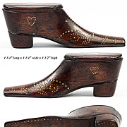Exceptional Antique Hand Carved French Pique Boot or Shoe Snuff Box, c.1830, Hearts