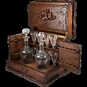 RARE Antique Black Forest Liqueur & Cigar Tantalus, Hand Carved, Complete, Gorgeous!