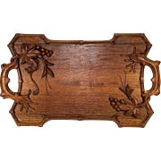 "Antique to Vintage 20"" x 12"" Hand Carved Teak Serving Tray, Asian with Squirrel, Leaves, Fruit Carved"