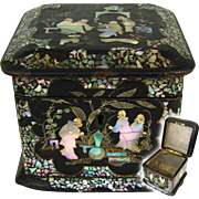 Antique Napoleon III French Chinoiserie Tea Caddy, Casket, Figural Mother of Pearl, Papier Mache