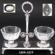 Antique French Napoleonic Era Sterling Silver Double Open Salt or Sweetmeat Caddy, c. 1809-1819