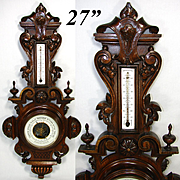 """Antique Black Forest Style Carved Wood 27"""" Cased Aneroid Barometer, Thermometer, Foliate Accents"""