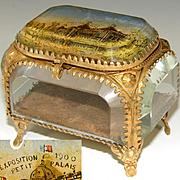 """Antique French Eglomise Souvenir Casket, Box, View of the """"Exposition 1900 Petit Palais"""""""