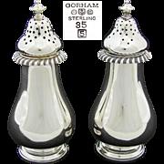Vintage 1945 Hallmarked Gorham Sterling Silver Salt & Pepper Shaker Pair, Elegant Pattern