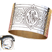 """Antique French Sterling Silver Napkin Ring, Guilloche Style Decoration, """"AB"""" Monogram"""