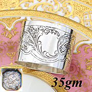 Antique French Sterling Silver Napkin Ring, Ornate Louis XVI Pattern, Floral Accenting