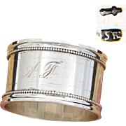 "Antique Dutch Heavy Sterling Silver 2"" Napkin Ring, Bead Festooned Bands, AF Monogram, Dated 1918"