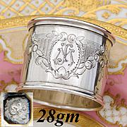"""Elegant Antique French Sterling Silver Napkin Ring, Ornate Floral Garland, """"MJ"""" Monogram"""
