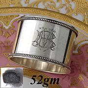 "Antique French Heavy Sterling Silver 2"" Napkin Ring, Bead Festooned Bands, MB or BM Monogram"