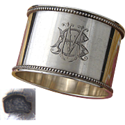 "Antique French Heavy Sterling Silver 2"" Napkin Ring, Bead Festooned Bands, MB or BM Monogram"