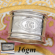 """Antique French .800 (nearly sterling) Silver Napkin Ring, Guilloche Style Decoration, """"CH"""" Monogram"""