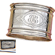 "Antique French .800 (nearly sterling) Silver Napkin Ring, Guilloche Style Decoration, ""CH"" Monogram"