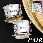 "Lovely Antique French Sterling Silver Napkin Ring PAIR, Seashell Accents, ""Hermine"" & ""Bernard"" Inscriptions"