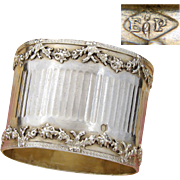 Antique French PUIFORCAT Sterling Silver Napkin Ring, Elegant French Floral Garland Pattern