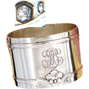 "Antique French Sterling Silver Napkin Ring, Aesthetic Style Seashell or Foliate Belts or Bands, ""FC"" Monogram"