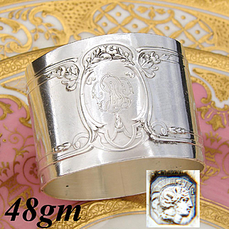 Gorgeous Antique French Sterling Silver Napkin Ring, Ornate Empire Style Decoration, FC (?) Monogram